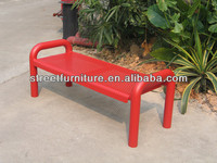Outdoor perforated steel street bench