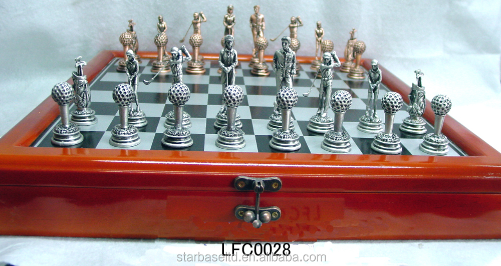 Eco-friendly entertainment game pewter wholesale antique chess
