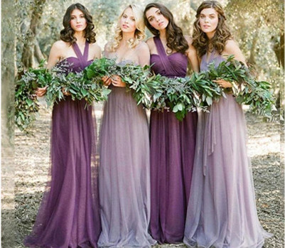 ZH0812E New arrival lace A line long bridesmaid dresses purple mesh halter dress