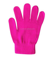Bright Pink Color Acrylic Knit Kids Magic Stretch Gloves