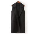 European style simple sleeveless trench long ladies coat