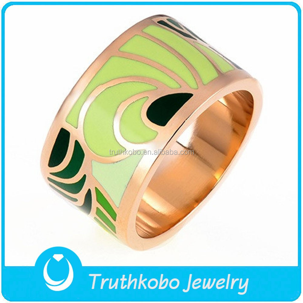 TKB-R0274 Fashion 2015 emerald green feathers style special design for men or women wholesale jewellry rose gold plating rings