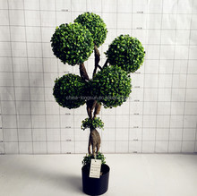 LSD-1108032 decoative artificial topiary trees,plastic boxwood spiral ball topiary tree