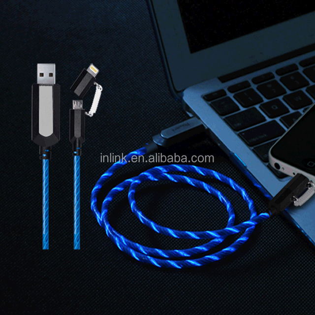 2 in 1 Charging Data Cable USB Flashing Flowing Visible EL LED Glowing Light Up Charger Cable & Sync Data Cable for iPhone
