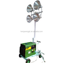 Cheapest Price !!! HENGWANG Mobile Lighting Tower 4.8M with Metal Halide Lamp 4x400W Night Scan Light Tower Generator