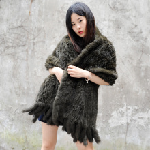 CX-B-14F Ranch Raised Knitted Rabbit Fur Poncho Fur Lady Shawl