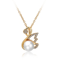 Fashion Women's 18Kt Gold Swan Crystal and Pearl Pendant Chain Necklace