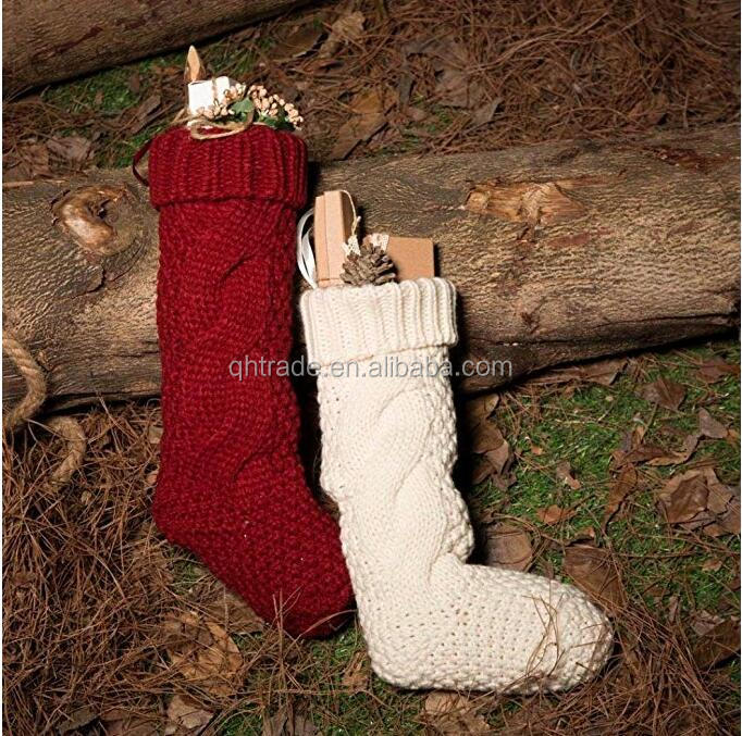 "High Quality Cable Knit 14.5"" Christmas Stocking Decoration in red and white color"