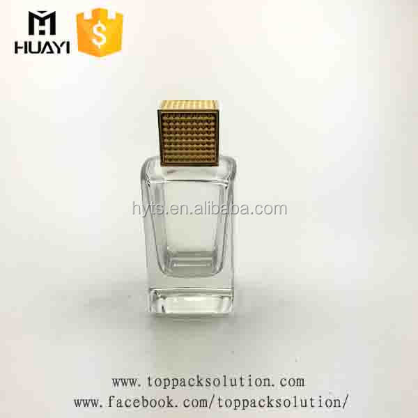 100ml thick bottom square glass perfume bottle with gold cap