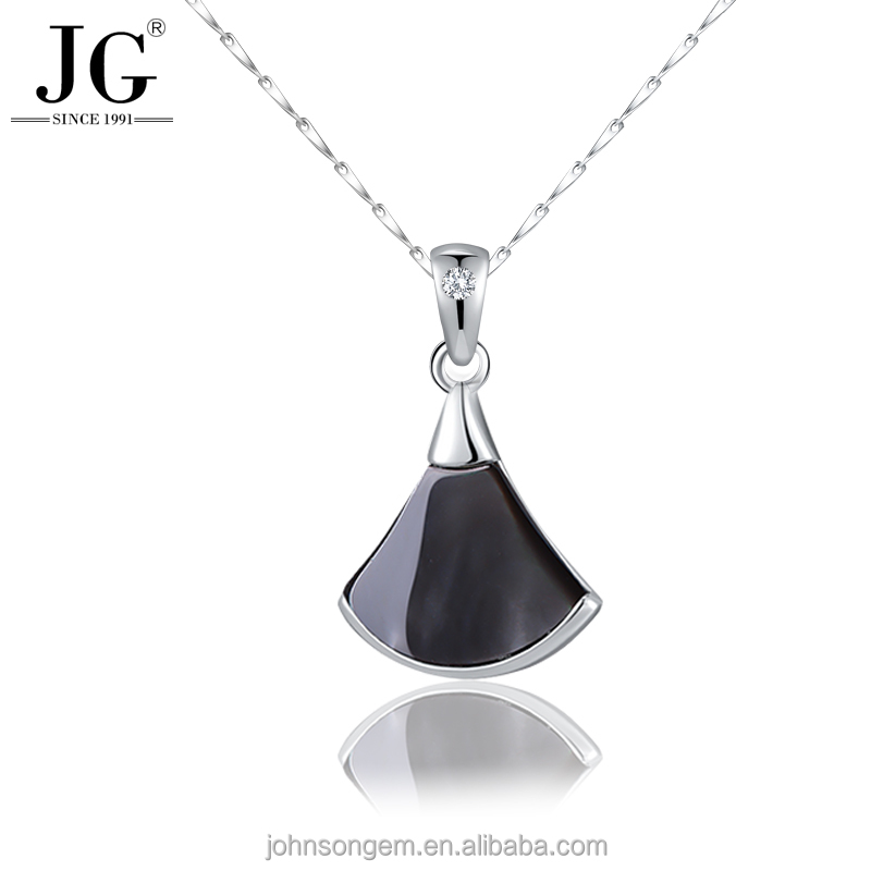 925 Sterling Silver Jewelry Wholesale High Quality Natural White Sea Shell Fan Shaped Ginkgo Biloba Leaf Zircon Necklace Pendant