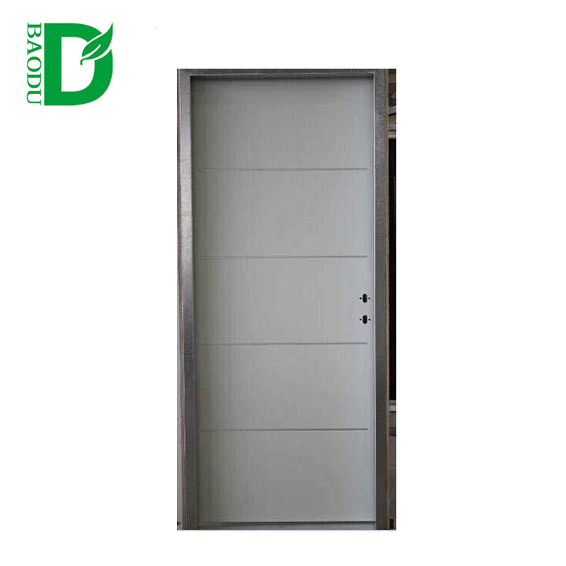 Baodu Israel steel door steel door inner filling PU steel panel door with aluminum strip insert