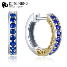 New arrival latest designs synthetic sapphire 925 sterling silver ring type big hoop earrings for women