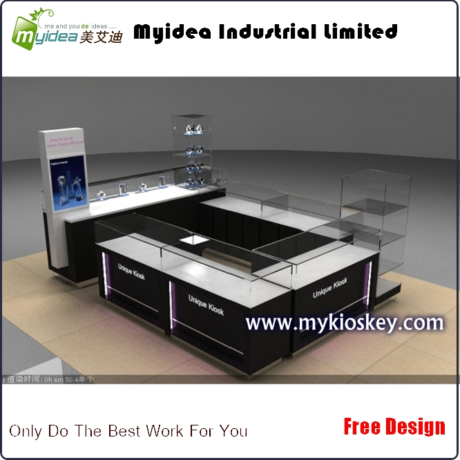 China Custom mall jewelry kiosk manufacturer black jewelry kiosk for sale