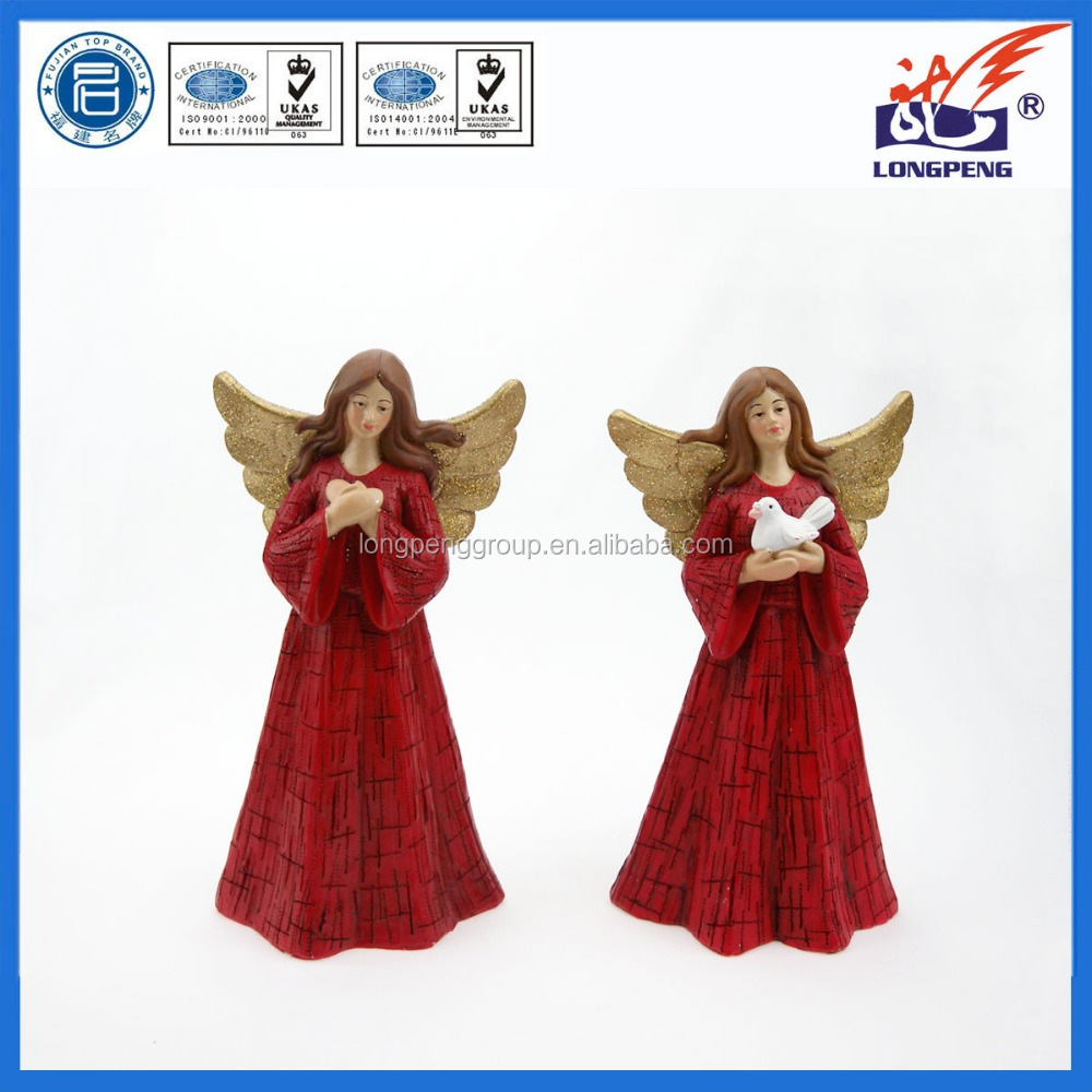 Resin Wing Angel Statue with Pigeon,Polyresin Angel Figurine for home decoration