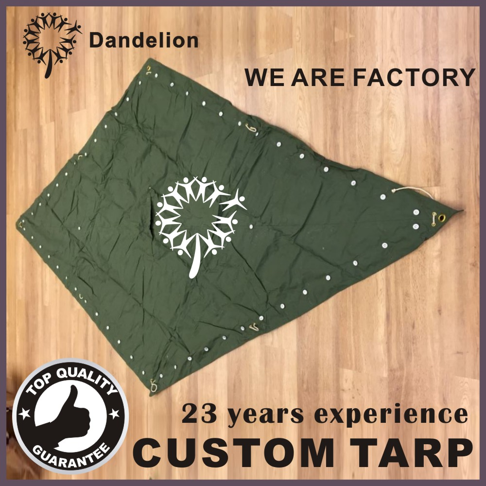 army custom camo canopy tent tarp cotton polyester covers button canvas military tarpaulin