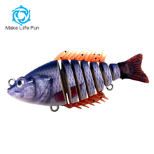 Hot Multi Jointed Hard Plastic Fishing Lures With Soft Fins And Tail Life Like Swim Bait For Fishing