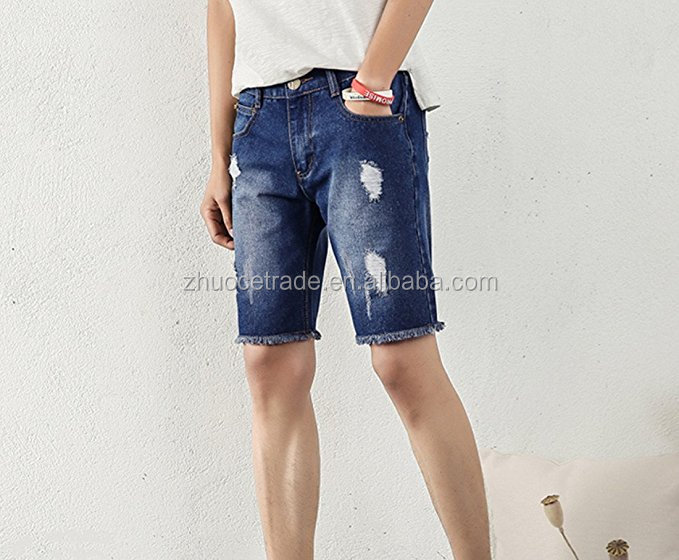 Fashion model mens Summer Light Weight Blue boys Short Jeans Slim Brush Denim Shorts