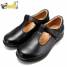 genuine leather school shoes fit kids Students for girls dress black shoes 12063