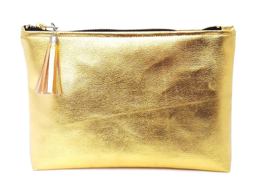 Luxury Personalized Gold Leather Cosmetic Bag