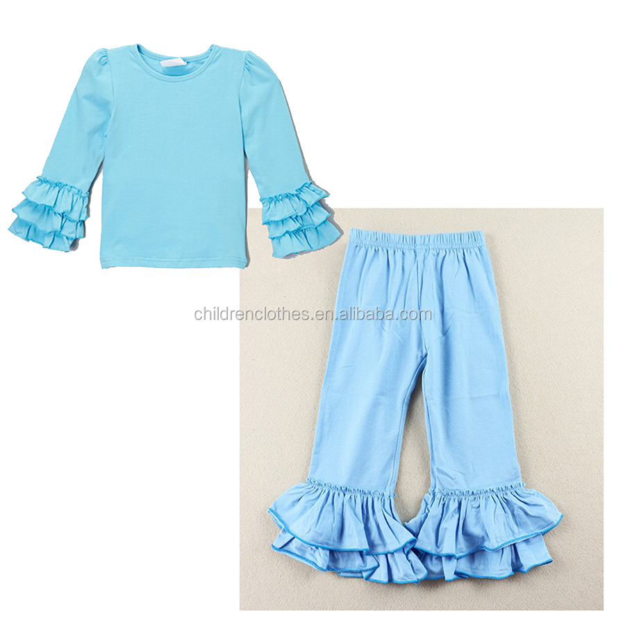Family Clothing Sets Autumn Long Sleeve Child Outfit Boutique Cotton Blue Ruffle Sets