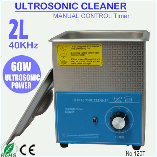 60W 2L Liter Stainless Steel Ultrasound Ultrasonik Cleaner for Watches Cleaning 120T