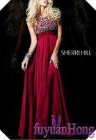 SH6908 cap sleeve beaded bodice Red 2013 new model evening dress