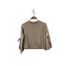 Winter fashion wool blend latest pullover sweater designs for girls with lace up details