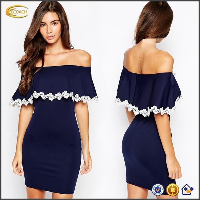 OEM Wholesale Petite Strapless Off-shoulder design Bardot Bodycon Womens Bandage Dress With Crochet Lace Trim