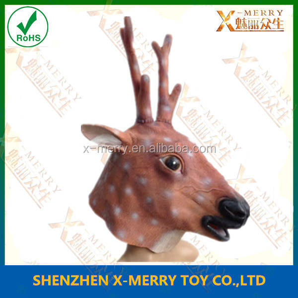 X-MERRY Long Horn Yellow Skin Black Mouth Dear Deer Ainimal Mask Smart Latex Mask Fancy Party Dress Costume
