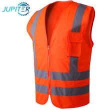 100% polyester 120g high visibility yellow warning reflective safety vest with pockets