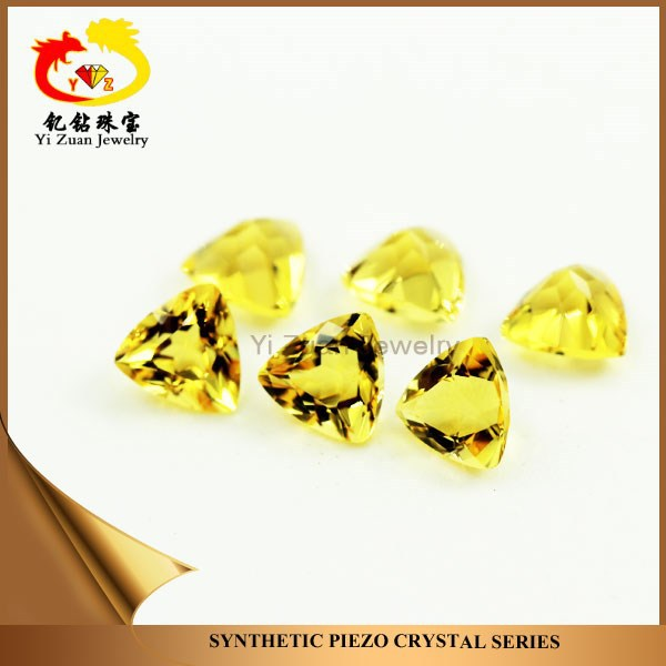 International synthetic piezoelectric quartz crystal trillion shaped diamond facets cut citrine rough