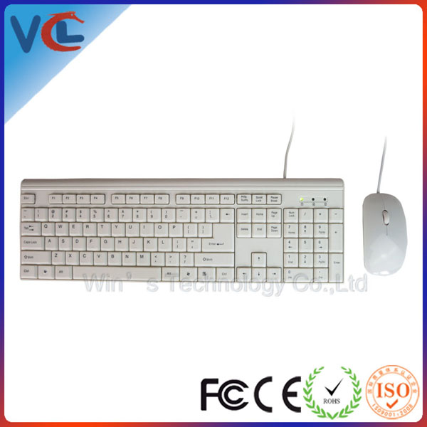 Hot Selling, Slim Keyboard and Optical Mouse Combo Wired in Full Black
