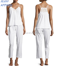 Cotton Cluny Lace-Trim White Pajama Set,100% cotton knitted pajama sets,Two Pieces Lace Tirmed Navy Knit Modal Lace Pajama Set
