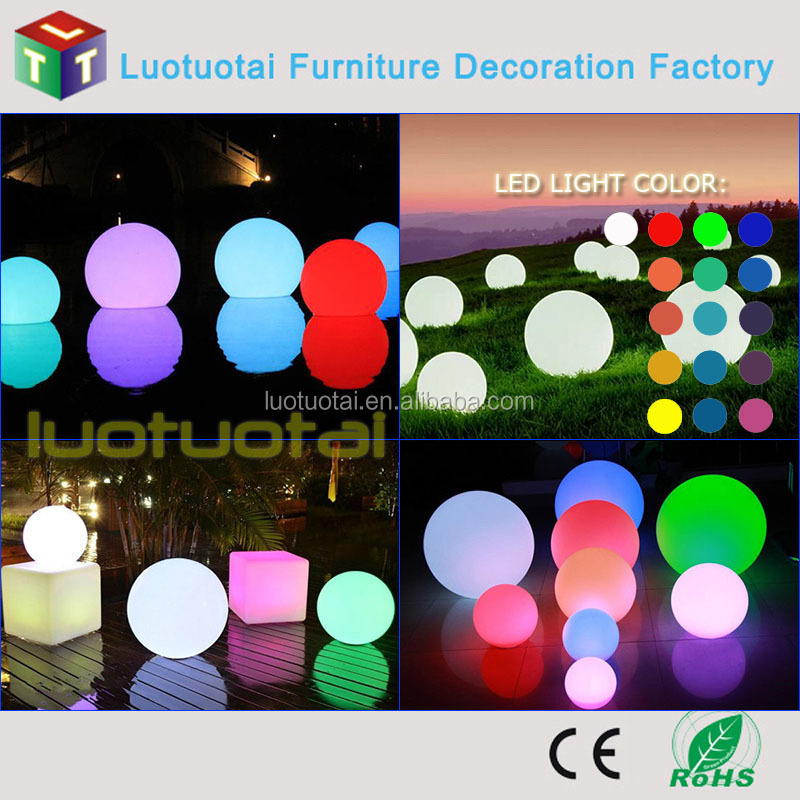 Waterproof cordless rechargeable Li battery operated PE swimming Pool Floating LED Ball Lighting
