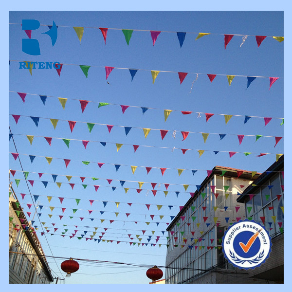 China wholesale Eco-friendly Promotion Printed PE/Paper/Non-woven/Fabric Customized Triangle Flag Bunting