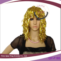 golden bright color party plastic PVC wigs