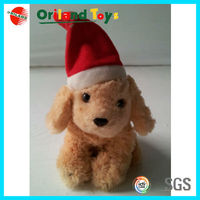 Stuffed dog toys with Xmas Hat