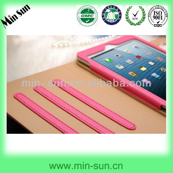 2013 new products leather case for ipad mini made in china