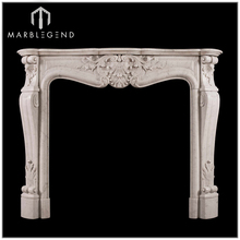 French Style Italian Carrara White Marble Fireplace Mantel
