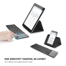 Hot Portable Tri Folding Blue Tooth Mini Keyboard Wireless Foldable Touchpad Keypad for ipad IOS Android Laptop PC Tablet MK673