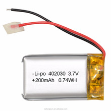 Hot Sales 402030 Lithium Battery 200mah 3.7v Lipo Battery With UL list For MP3 MP4