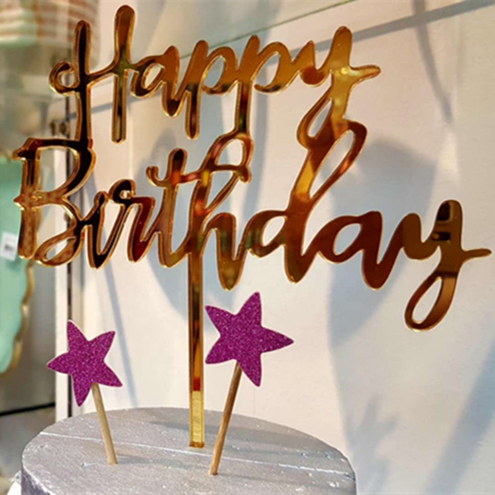 Number 3 Acrylic Gold Mirror Birthday Cake Topper