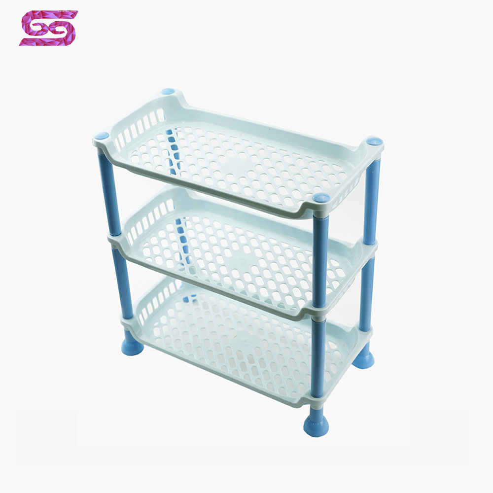 household 3 layer foldable plastic storage <strong>shelf</strong> for sale
