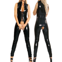 MOON BUNNY Black Sleeveless Sey Women Jumpsuit Open Crotch Costumes Spande Erotic Fetish Catsuit Late Fau PVC Leather Jumpsuit W