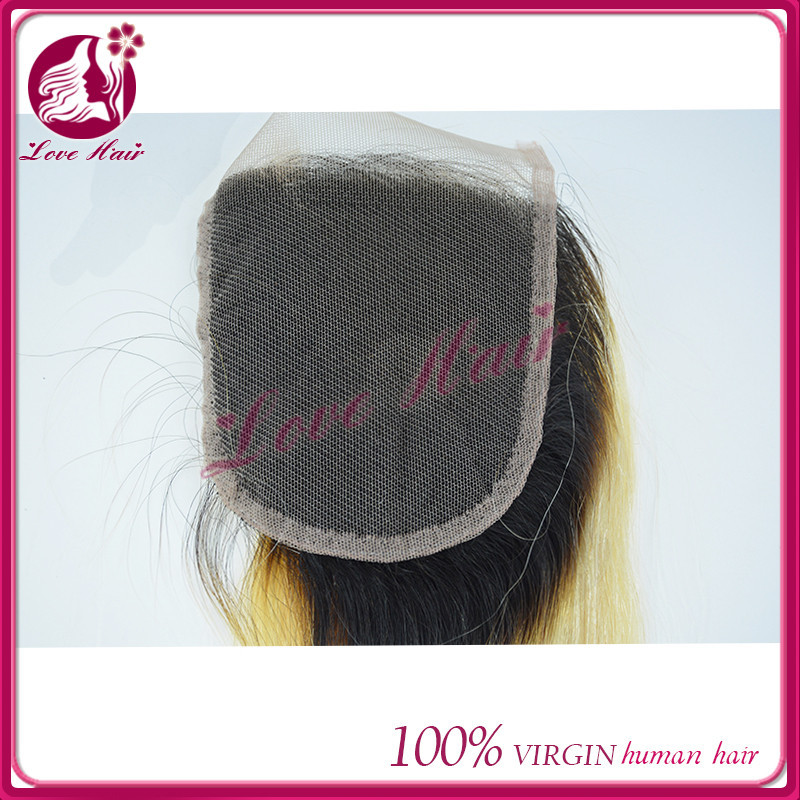 FANTASY hair loss use two tone lace closure cheap black and blonde ombre hair extension splendid brazilian straight qingdao hair