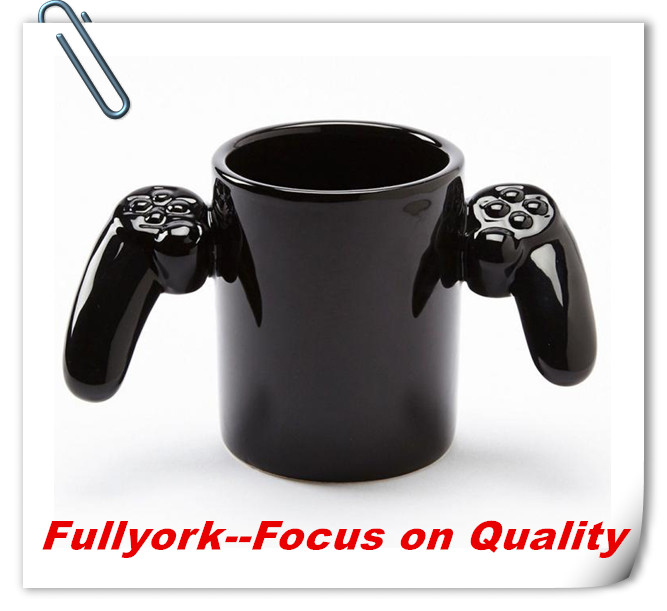 Hot Design Gamepad Shape Coffee Cup Cool Ceramic Mug Cup Game Over Gamepad Shape Coffee Cup