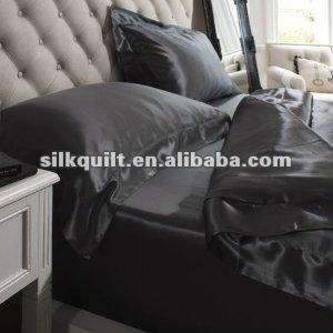 100% Mulberry Silk Duvet Cover Set, Black Color , Coffee Colors 4pcs set