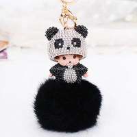 Promotions Fox fur ball Cute Panda Monchichi with full crystal