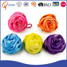 new arrival delicate red orange blue yellow purple color optional rose shaped Back Washing Bath Sponge