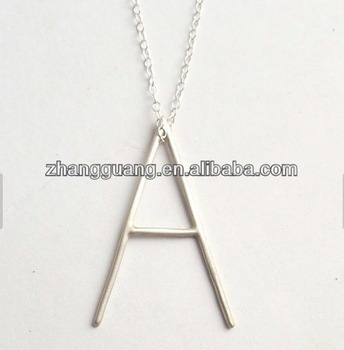 charm silver plated big letter A costome necklace long chain